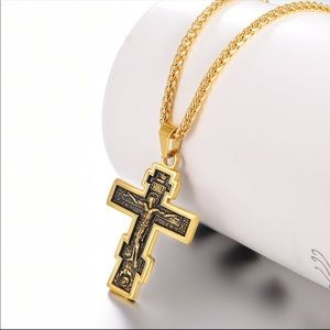 New 18K gold cross necklace